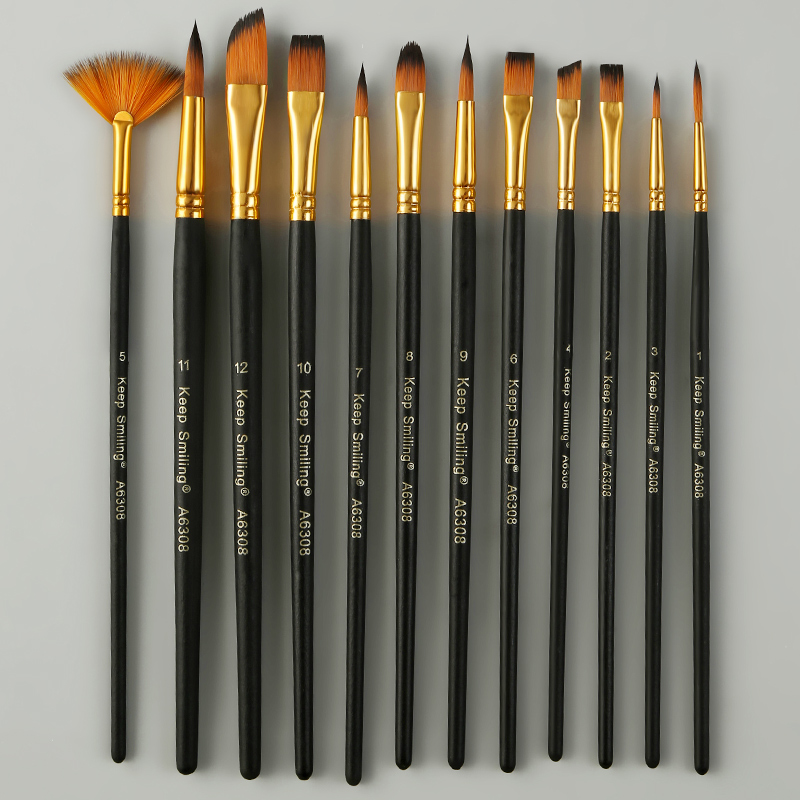 12 oil painting brush acrylic watercolor brush multi-model mixed hair lint beginner paint brush set art supplies(China)