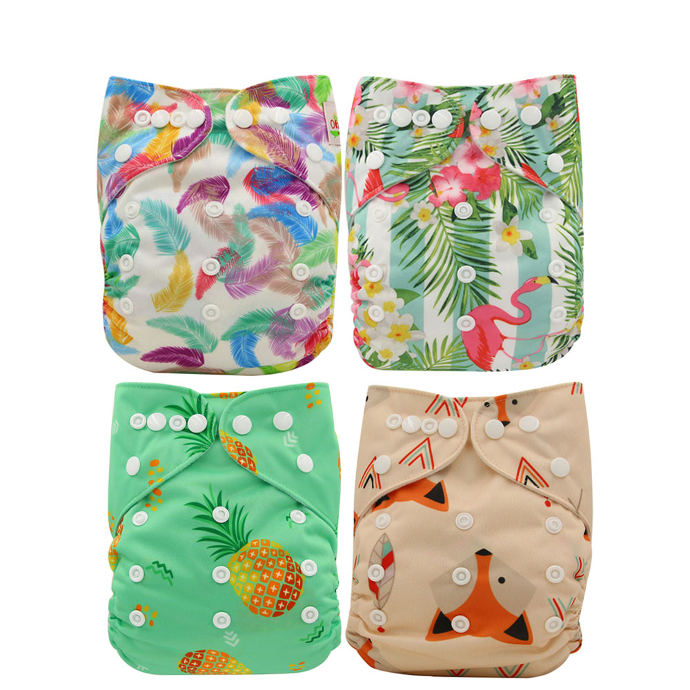 Ohbabyka Baby Nappies Washable Diapers Reusable Fitted Pocket Diaper Newborn Potty Training One Size Couche Lavable A Poche