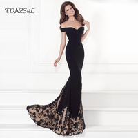 Sexy Off Shoulder Strapless Evening Party Dress Women Backless Black Patchwork Gold Print Big Hem Tube