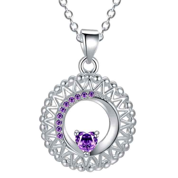 Collar de malla púrpura plateado, joyería plateada, colgante de joyería de moda WN1907