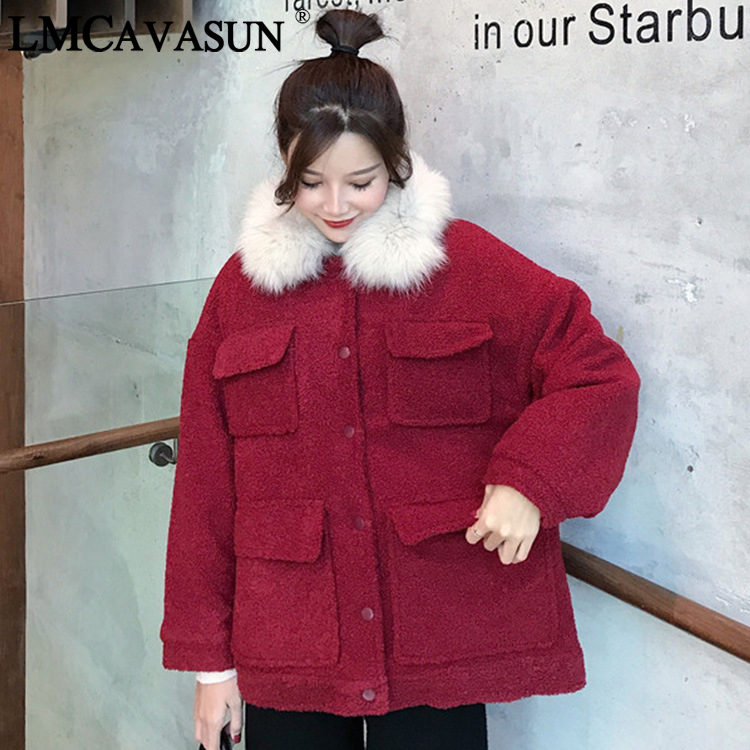 LMCAVASUN Winter   jacket   Women outwear & coats Female Faux Women Loose Lapel   basic     jackets   Womens   jacket