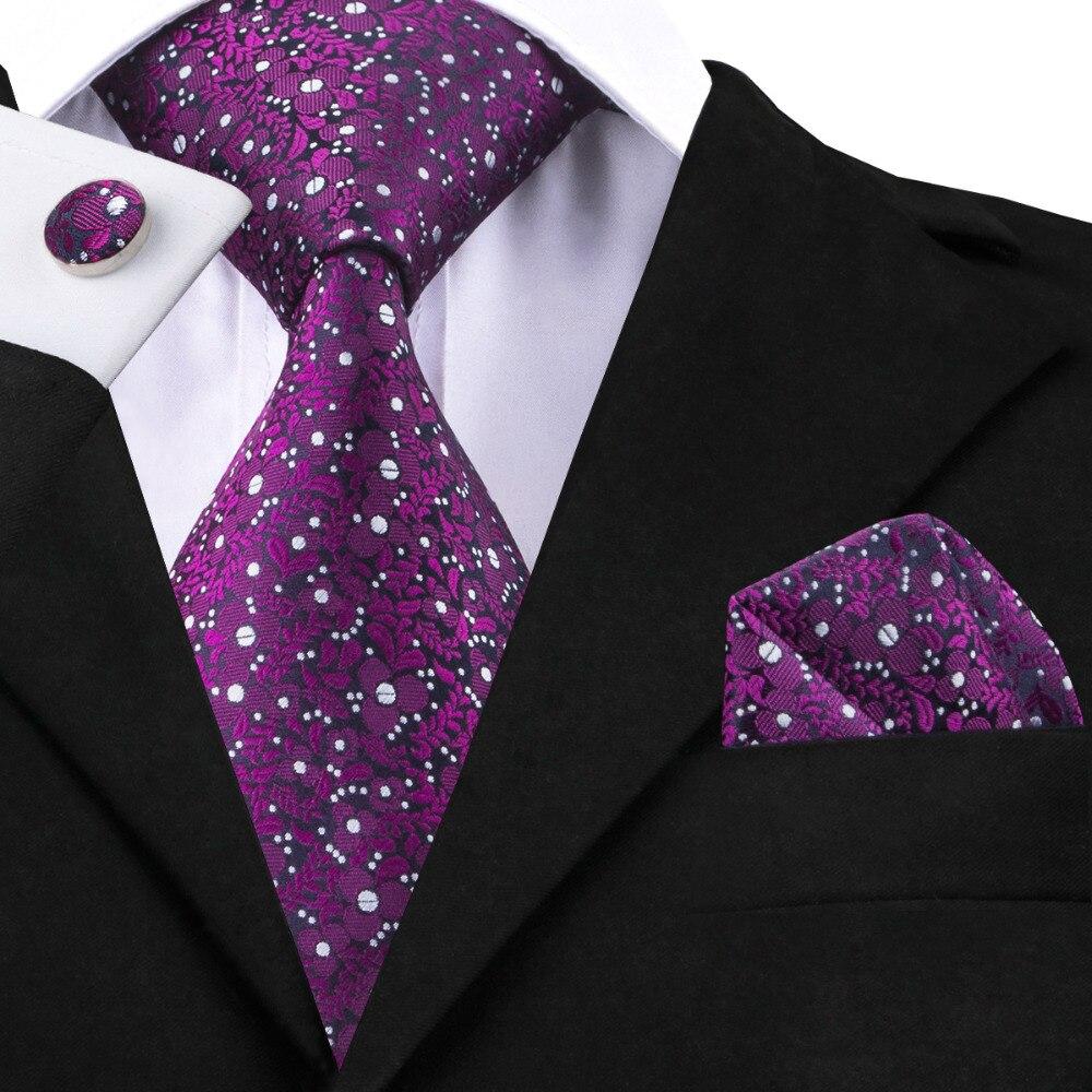 Luxury Brand 2018 Most Popular Designer Purple Silk Ties Square Cufflinks For Men Wedding Fashion Purple Necktie Corbatas C-1396