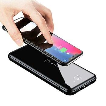QI inalámbrico cargador de banco de potencia 10000 mAh con pantalla Digital 5 V 2A 5 W batería externa banco de energía para iphone X Samsung Xiaomi LG