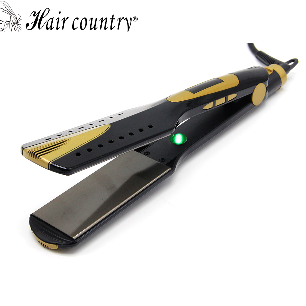 Hair Country Professional Hair Straightener with lONIC LCD Display Straightening Flat Iron htg 4 mch hot hair straightener iron flat professional fast hair straightening ionic lcd display diy music hair iron ht095 5184