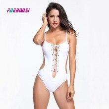 Black White Women One Piece Swimsuit New Bandage Bathing Suit High Cut Swimwear Thong Bodysuit Swimsuits Solid Beachwear