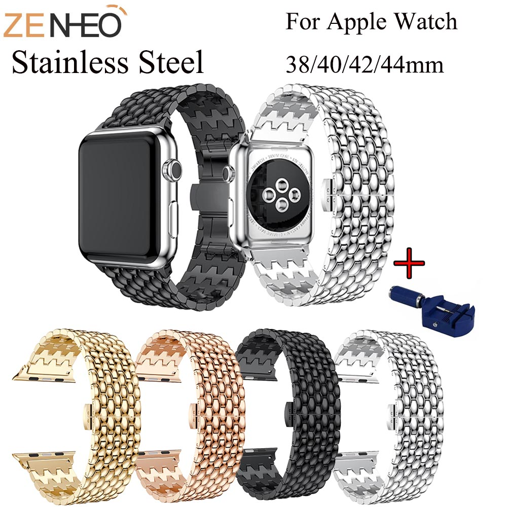 For Apple <font><b>Watch</b></font> <font><b>Band</b></font> 42/44mm Black Gold Stainless Steel Bracelet Buckle Strap Clip Adapter for Apple <font><b>Watch</b></font> For iWatch <font><b>Band</b></font> 38/40 image