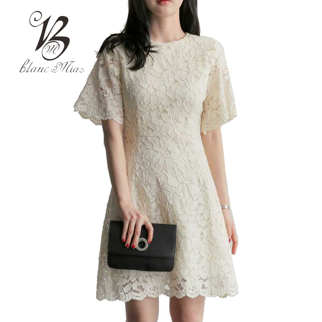 c4ea78690f8 BLANC MIAO Summer White Lace Dress Women Casual A-Line Short Sleeve Mini  Dresses Korean Style Plus Size Women Clothing T5B137