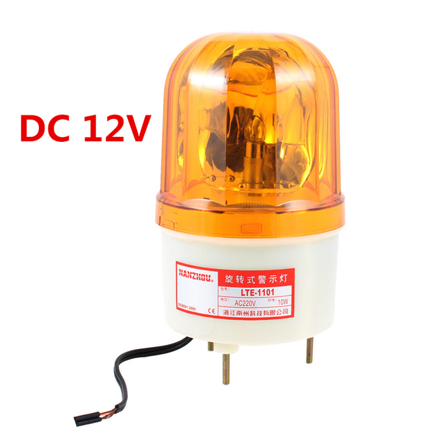 Yellow Rotating Light Mechanical Industrial Signal Warn