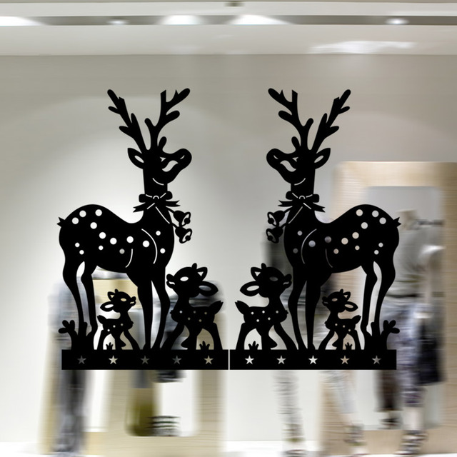 Modern Wall Art Home Decoration Stickers Christmas Decor Black White Red Deer