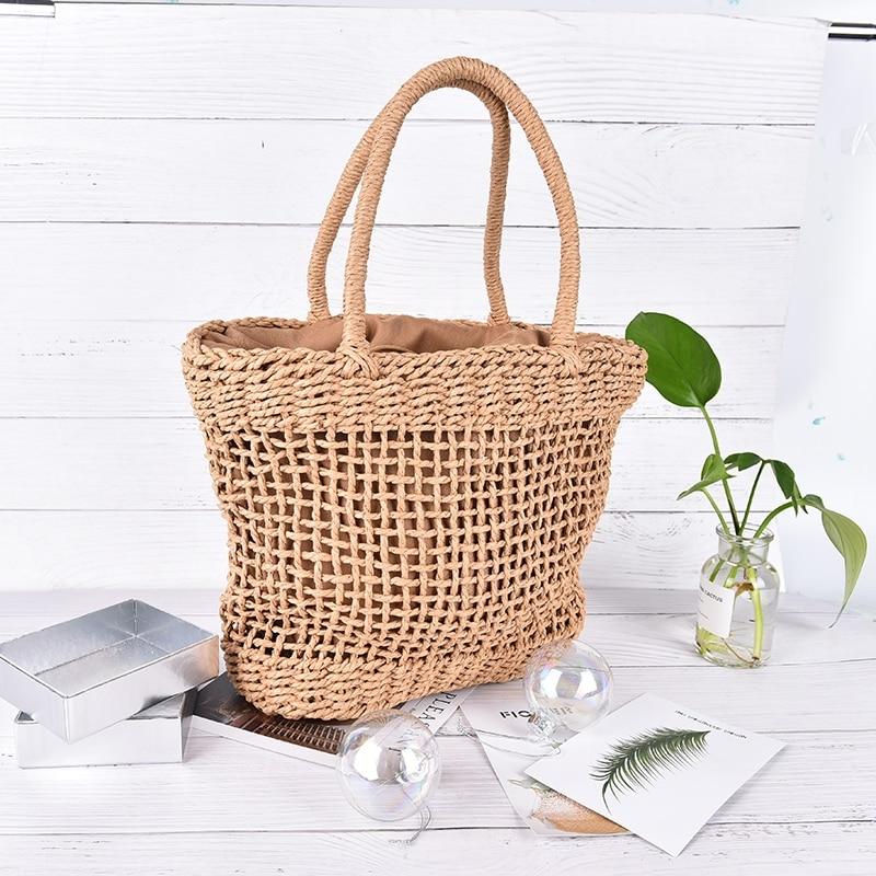 все цены на Woven Handbag Straw Retro Bag Women Mesh Hollow Rattan Casual Vintage Knitted Beach Bag High Quality