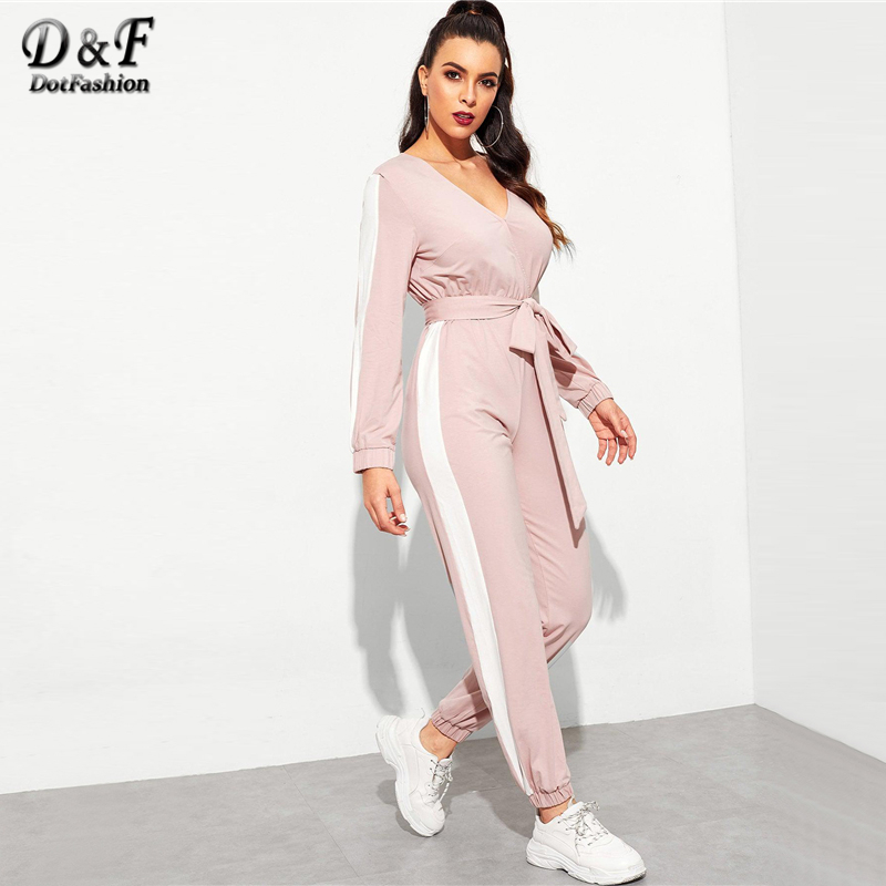 Dotfashion Hot Pink Contrast Side Seam Wrap   Jumpsuits   With Belt For Women 2019 Autumn Clothing Deep V Neck Long Sleeve   Jumpsuit