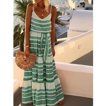 Plus Size Summer Dress Women Long Sleeveless Bohemian Spaghetti Strap Beach Holiday Maxi Vestidos