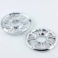 1 Pair 6 Chrome Motorcycle 3D Round Front Rear Speaker Grill Cover Decorative Protector For Harley