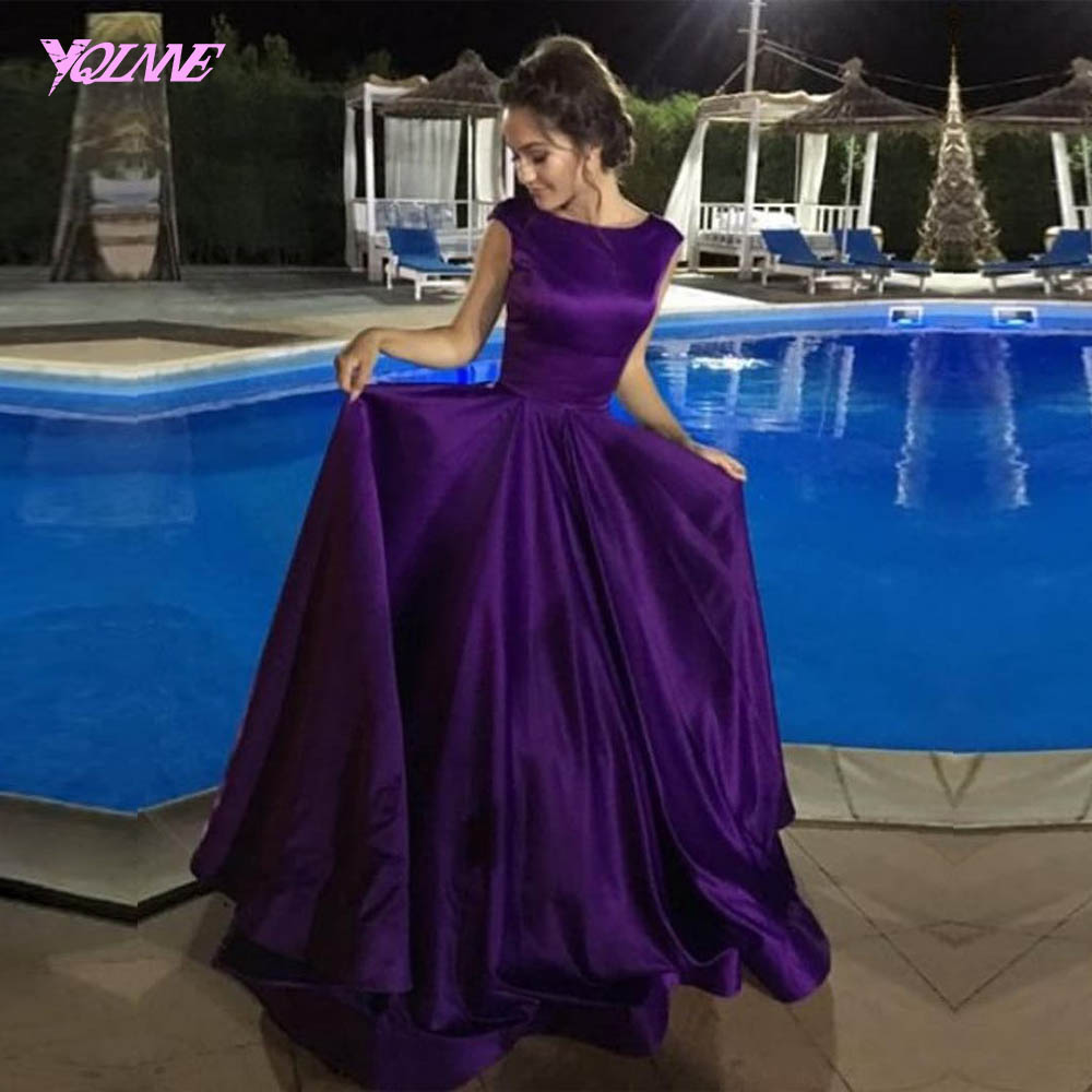 2018 Purple Long   Prom     Dresses   Satin Lace-up Evening Gown Women Party   Dress