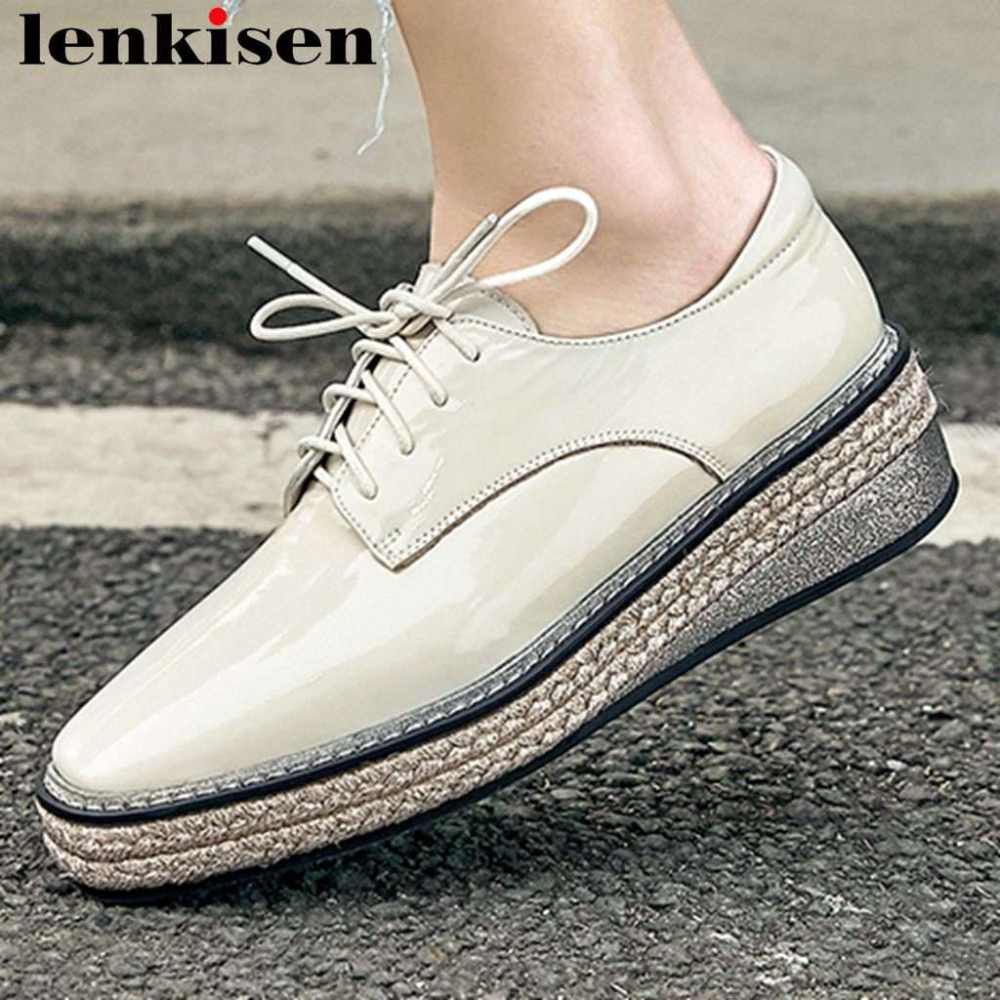 2019 handmade high quality classic square toe lace up straw decoration genuine leather casual shoes dating campus lady pumps L24