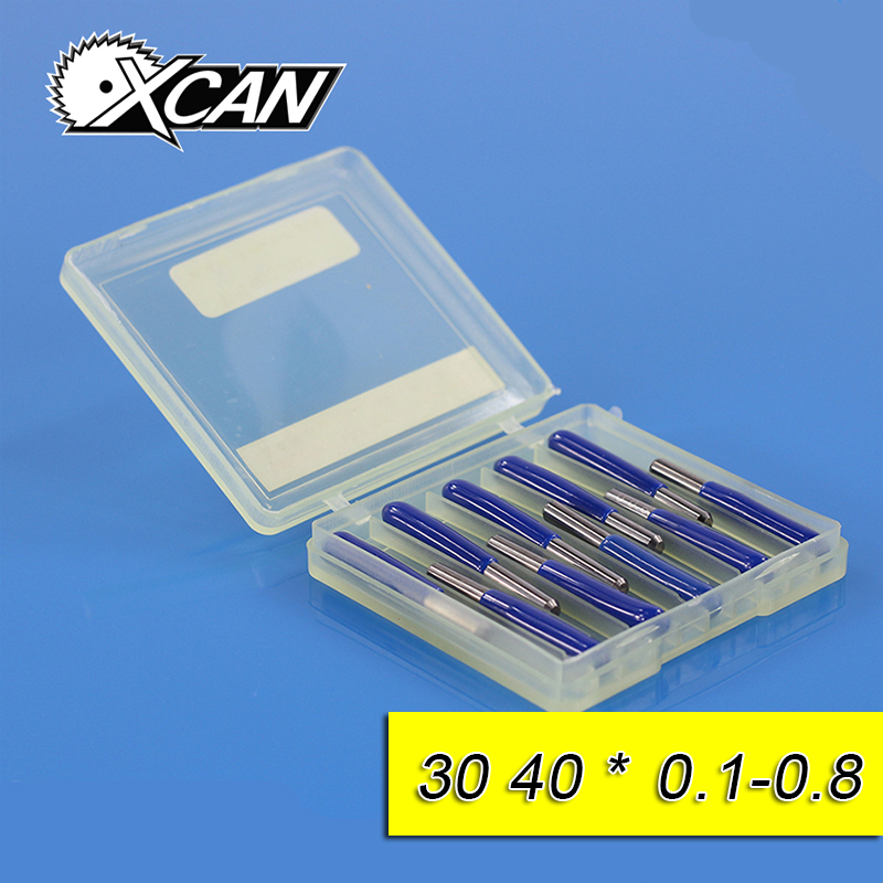XCAN 10pcs/lot V Shape flat bottom Carbide PCB Engraving Bits CNC Router Tool 30 40 degree metal cutter mini drill bit hot sale tungsten steel 10pcs 3 175mm carbide pcb engraving bits cnc router tool 30 degree 0 1mm
