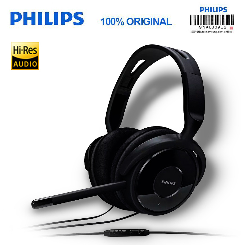 Professional Philips SHM6500 Headphone Computer Games Mobilephone Headphone Wire Control Microphone Music Phone Official Genuine
