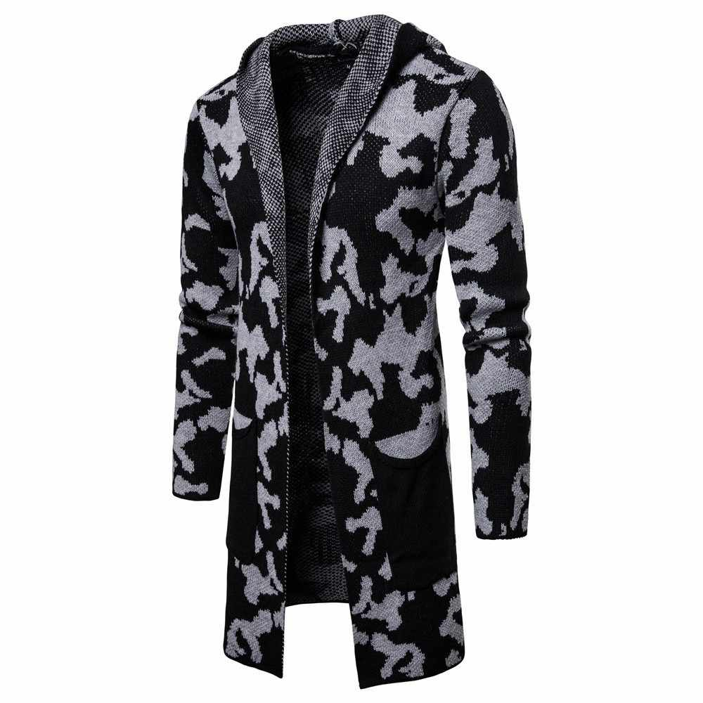 2019 herbst Neue männer Lange Strickjacke Mit Kapuze Pullover Männlichen Camouflage Lange Pullover Oberbekleidung Männer Slim Fit Strickjacke Mantel