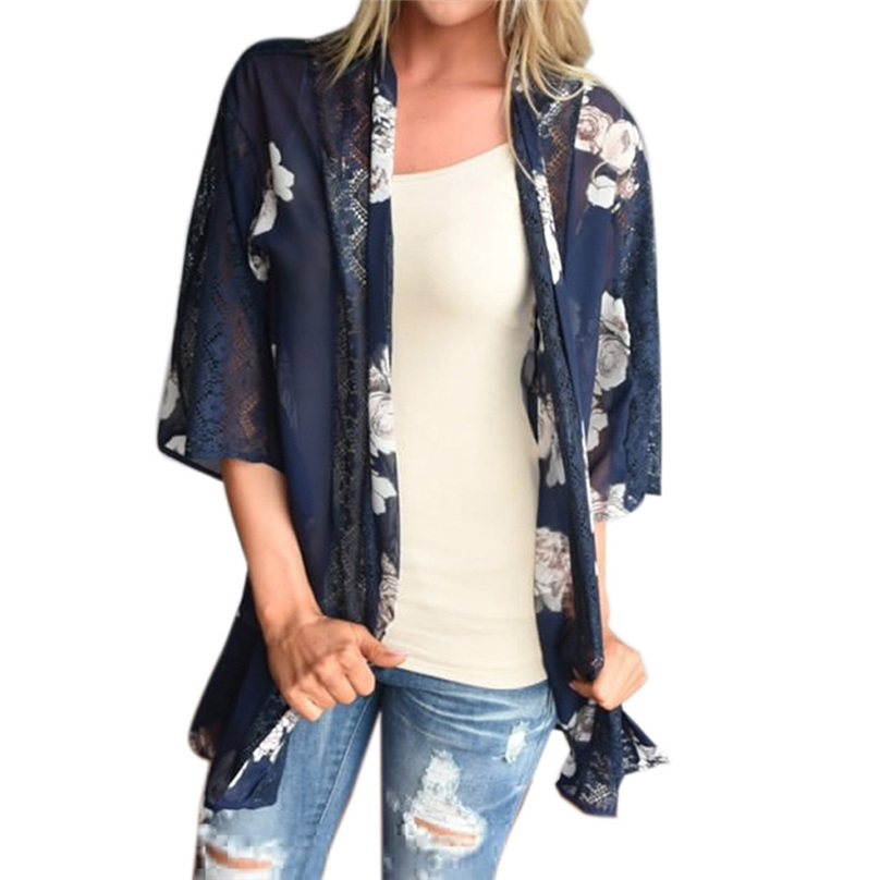 2016 New Women Blouse Chiffon Floral Print Beach Summer Long Coat Fashion Casual Female Blue Cardigan Size XL Clothes #DZ5930