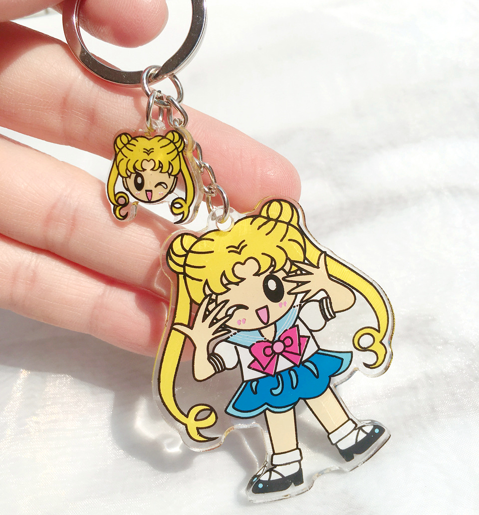 Sailor Moon Princess Serenity Tsukino Usagi PVC Keychains Key Ring Bag Chains Charms Pendant Women Girls Collectible Jewelry