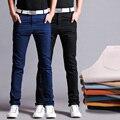 Pantalones de Tela de algodón Pantalones de Los Hombres Rectos de Algodón de alta Calidad Delgada Hombres Pantalones Casuales Pantalones