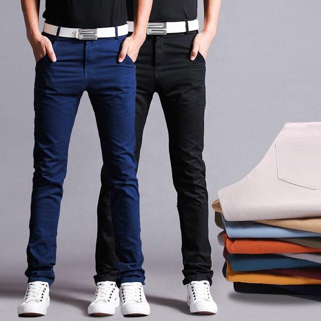 Pantalones De Tela De Algodon Pantalones De Los Hombres Rectos De Algodon De Alta Calidad Delgada Hombres Pantalones Casuales Pantalones En Pantalones Flacos De Ropa Y Accesorios