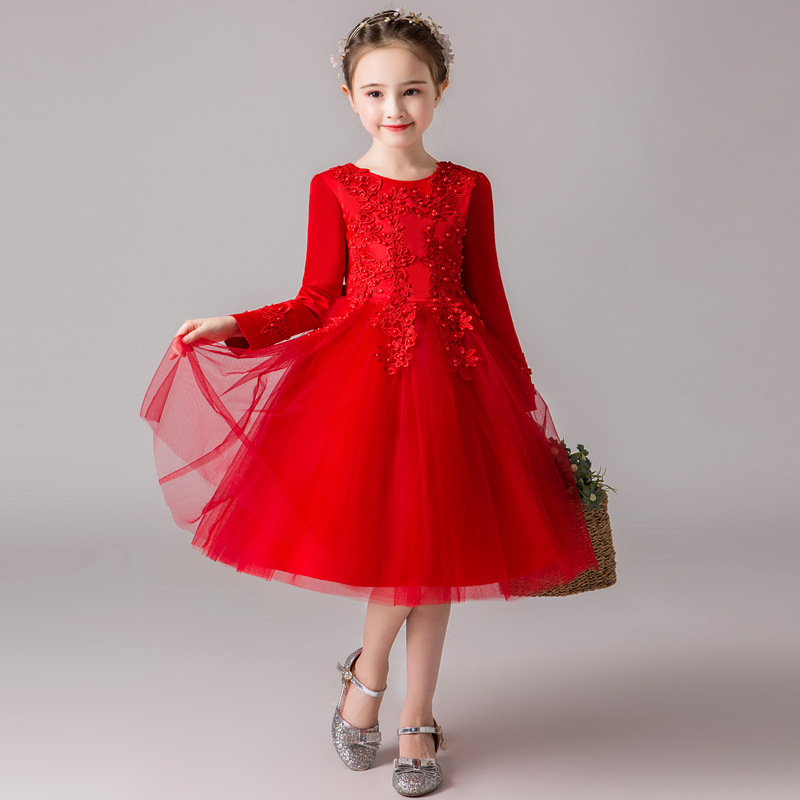 Kids Baby Winter Princess Prom   Dress   Long Sleeve Beautiful   Flower     Girl     Dress   Children Performance Clothing Wedding   Dress   5-10Y