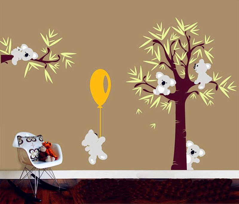 2016 New Design Different Cute Koala Bear And Tree Wall Stickers Koala  pulled Balloon Vinyl Decals Baby Bedroom Wall Art Drcor