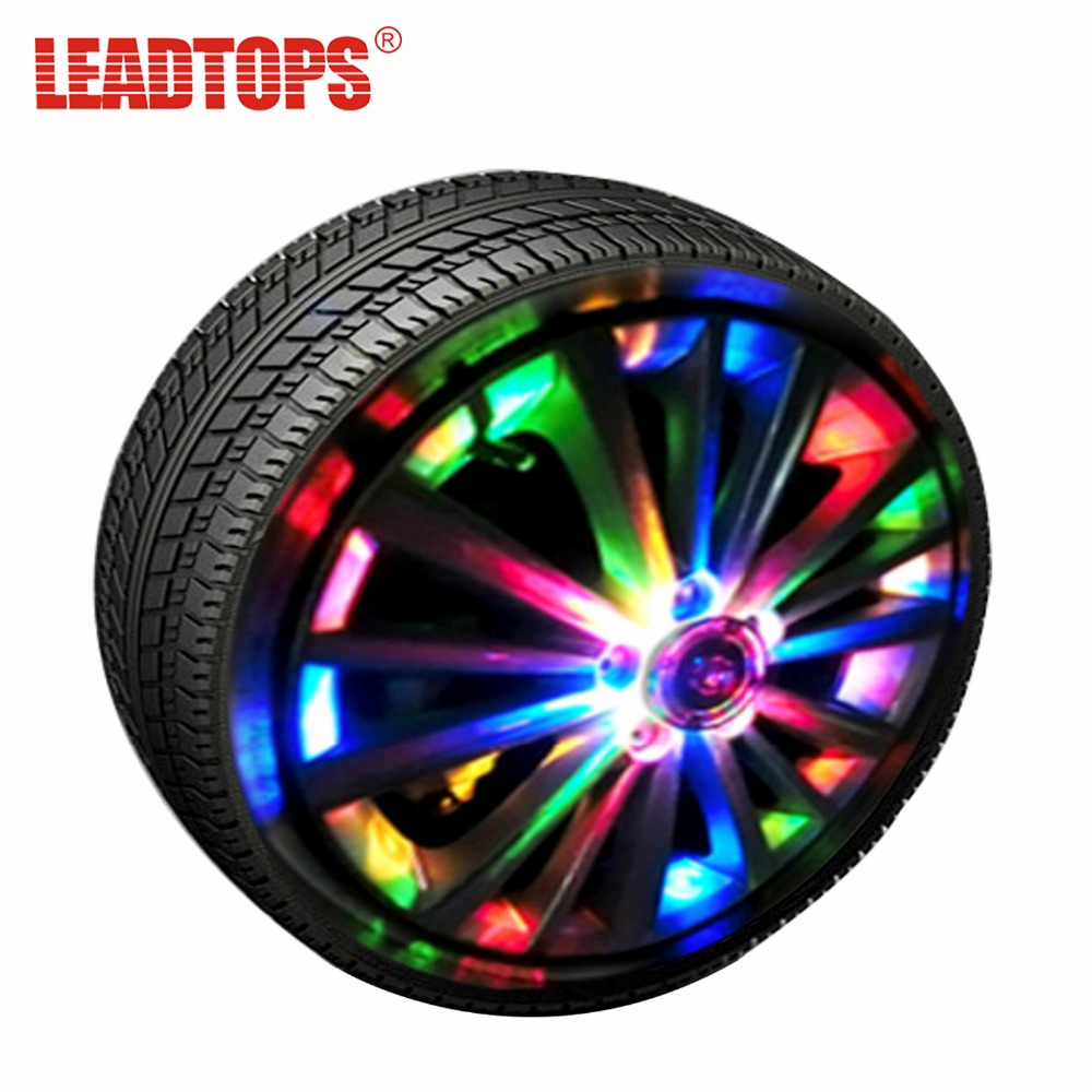 LEADTOPS 4pcs RGB Powered Car Light Wheel Luces externas Colorido Auto Turn ON / OFF Wheel RGB Tire LED Decoración Lámpara AH