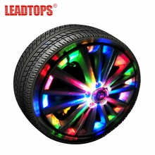 LEADTOPS 4pcs RGB Powered Car Light Wheel External Lights Colorful Auto Turn ON/OFF Wheel RGB Tire LED Decoration Lamp AH