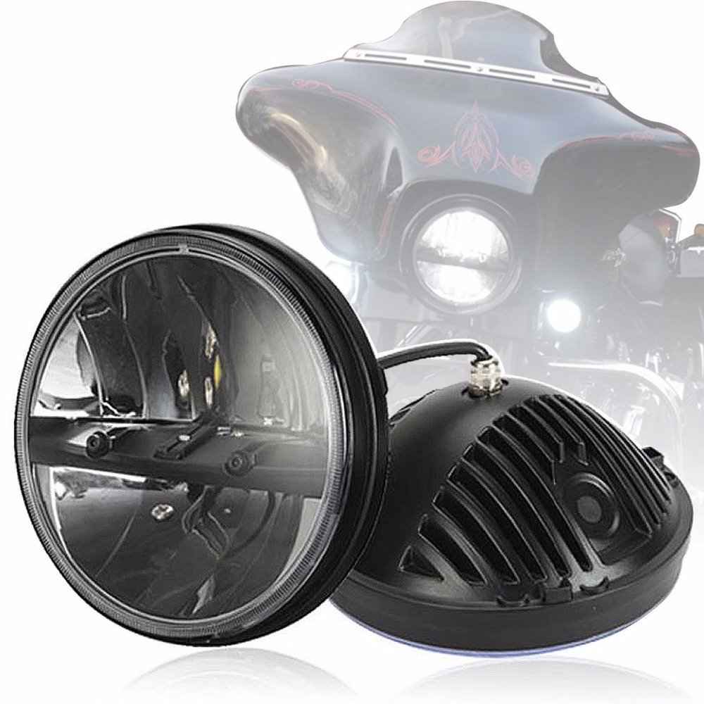 Motorcycle Headlight 7 Inch Round Led Hi-Lo Beam Headlight For Harley Davidson Electra Glide Street Glide Road King Motorbike pair air deflector windshield side wings dark tint smoke for harley electra glide road kingstreet glide motorcycle