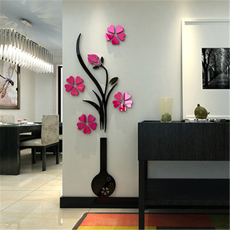 Captivating Gentil 2015 New Diy Crystal Acrylic 3d Wall Stickers Vase Plum Flower  Mirror Wall Sticker Decal