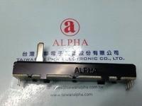 2PCS LOT Taiwan ALPHA 73MM Straight Slide Belt Straight Rod Potentiometer B10KX2 15MM Axis Inner Foot