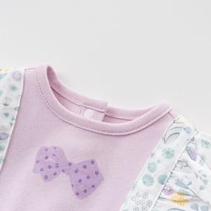 Image 4 - DBH10042 dave bella 6M 3Y yeni doğan rompers bebek uzun kollu çiçek tulum bebek yürümeye başlayan butik onesies kız romper