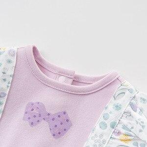 Image 4 - Dave bella DBH10042 6M 3Y macacão novo nascidos macacão de bebê manga longa macacão floral infantil criança boutique meninas romper