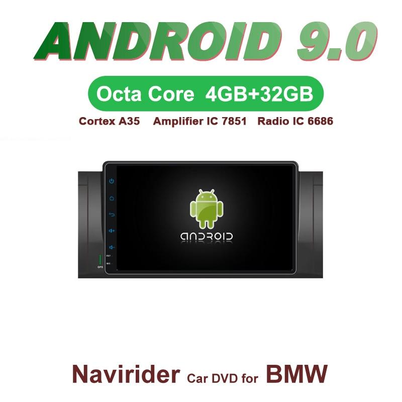 Octa core Android 9.0 4 GB RAM lecteur dvd de voiture headunit GPS navigation radio stéréo audio magnétophone pour BMW E39 M5 X5 E53