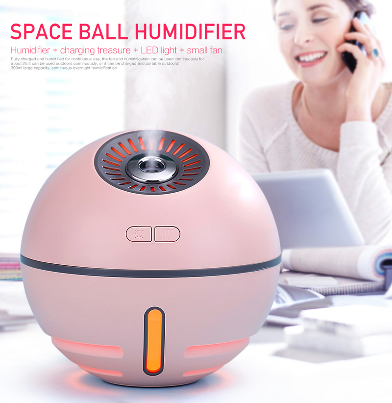 Portable Rechargeable USB Air Humidifier Essential Oil Diffuser With USB Air Fan And Led Light 300ml Aromatherapy Diffuser MiniH