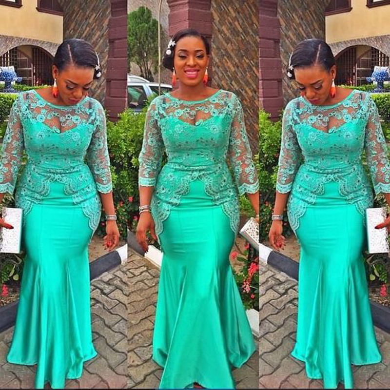 fa14c860770a5 Hot Fashion Plus Size African Turquoise Long Evening Dresses Mermaid ...
