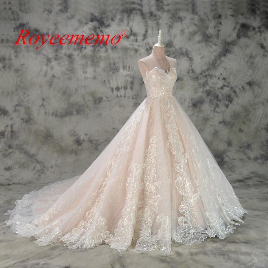 varm försäljning rosa satin av axeln speciella spetsar design - Bröllopsklänningar - Foto 2