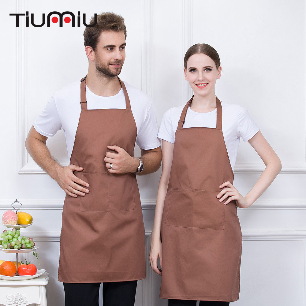 Hanging Neck Apron Chef Waiter Work Wear Strap Adjustable Aprons High Quality Wholesale Kitchen Hotel Coffee Shop Bakery 5 Color