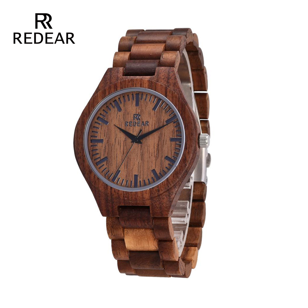 REDEAR Relojes de madera Walnut Wood Case Scale Dial Walnut wood Band - Relojes para mujeres