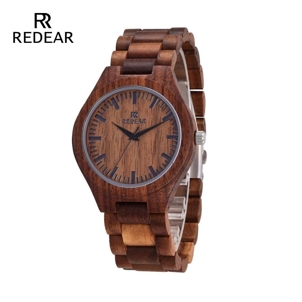 REDEAR Relojes de madera Walnut Wood Case Scale Dial Walnut wood Band - Relojes para mujeres
