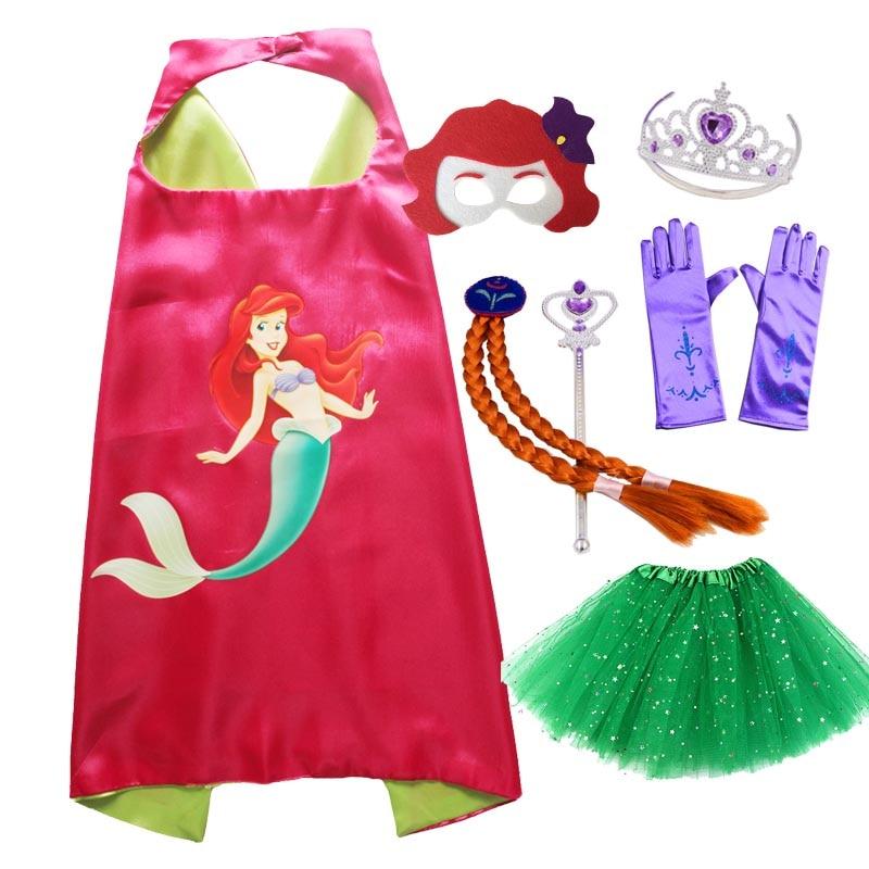 Mermaid Cosplay Cape Mask Tiara Wand Glove Braid for Girls Christmas Costume  Halloween Costume for Kids Original