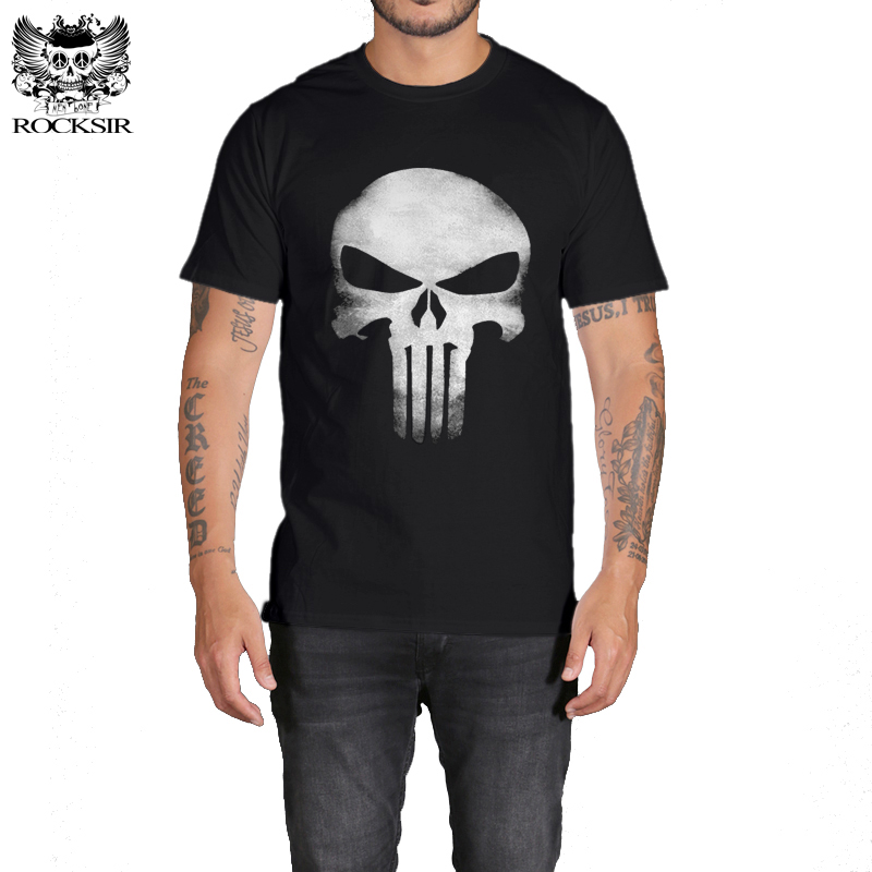 Rocksir Hero Punisher   T     Shirt   Men Summer Cotton Fashion   T  -  Shirt   Men Casual camisetas hombre The Punisher   T  -  shirt   Mens camiseta