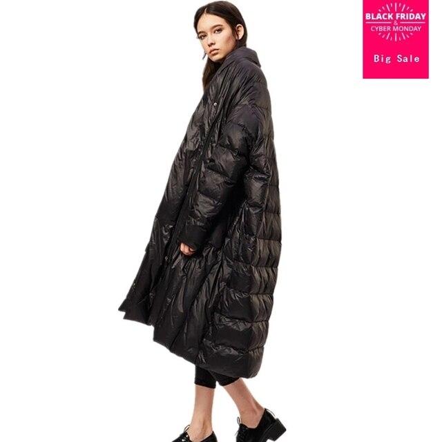 Большой размер 90% утиный пух пальто модный бренд высокий воротник плащ стиль длинный пуховик женский свободный стиль толстое теплое пальто wq293