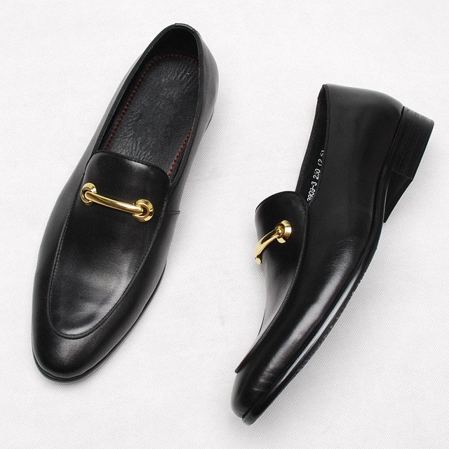 f2887f58438 Men Horsebit Loafers Black Genuine leather Buckle Driving Loafers Leisure  Shoes Hot
