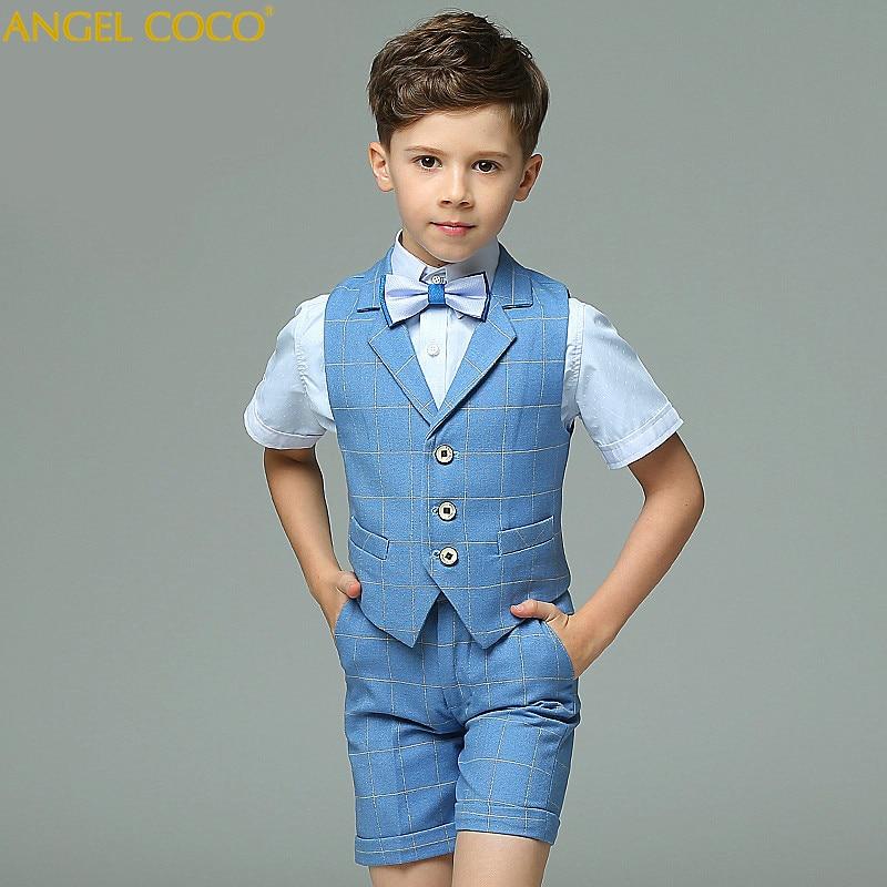 4 to15 years old new 2018 autumn boysSummer short sleeve gentlemen blazer clothing boys full dress clothes boys dress suit italians gentlemen пиджак