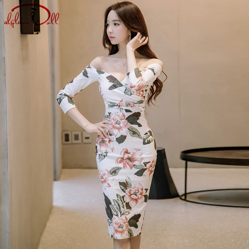 2019 New Full Sleeve Strapless Sexy Party Dresses Knee-Length Women Bodycon Midi Pencil Floral Print Vestidos
