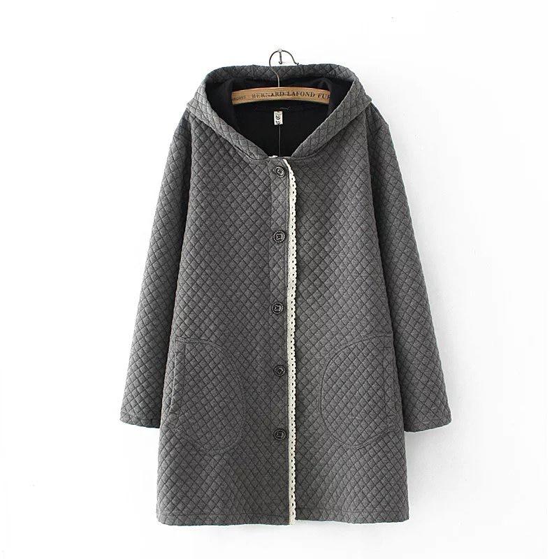 Oversized 2018 Autumn Winter Jacket Women Patchwork Design Plaid Long Jacket Outwear Loose Hooded   Parka   Coat Plus Size 3XL XH995