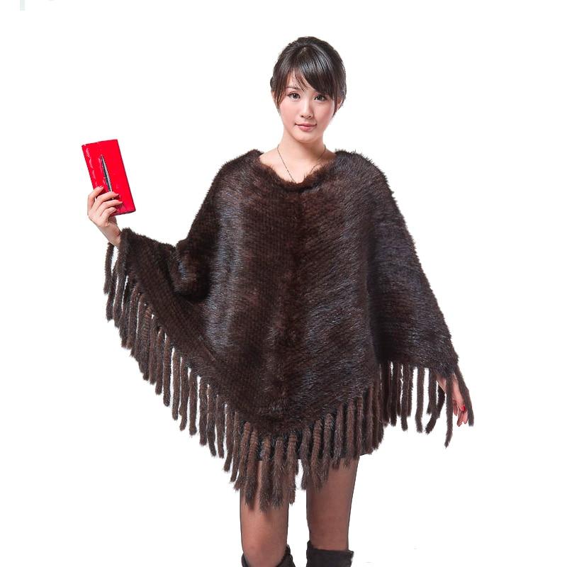 Модные пальто с мехом норки вязать шаль Для женщин Подлинная Вязание норки пальто